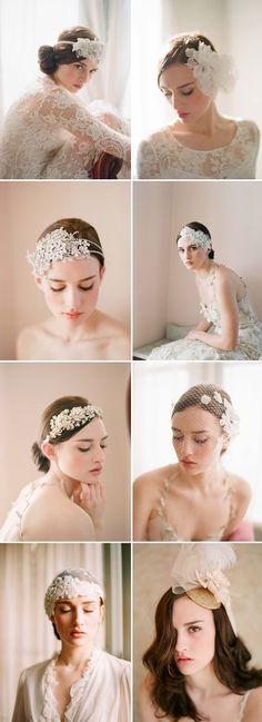 accesorios nupciales del pelo, cintas y velos de ramas y Miel | junebugweddings.com