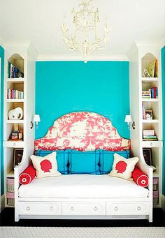 turquoise and red room decor ideas - play room color pallette