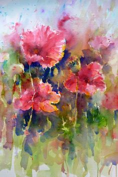 artists, joann boon, boon thoma, floral paintings, watercolor flowers, field of dreams, the artist, poppi, fields