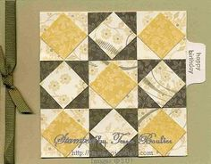 handmade quilt card ... neutrals ... layered squares nine-patch design ... lovely ..