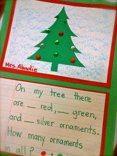 Christmas Tree Math Art Project classroom, fractions for kindergarten, math art, christma tree, decemb math, christma addit, christmas trees, art projects, math journals