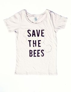 Save the Bees Shirt  Women's Scoop Neck  Natural White by naturwrk,