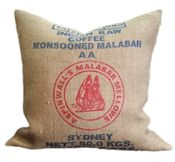 Recycled Coffee Jute Bag pillows from Velvet Bean.