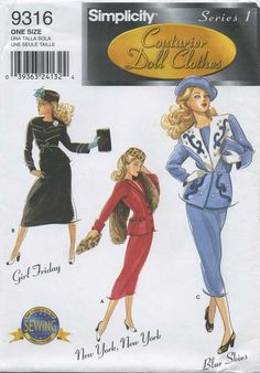 "Retro Vintage Doll Clothes Sewing Pattern | Simplicity 9316 | Year 2000 | Series 1 Couturier Doll Clothes for 15½"" Fashion Doll (such as Gene) 