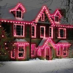 pink christmas, pink light, christmas decorations, future house, christmas lights, pink houses, christma light, gingerbread houses, outdoor christmas