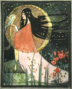 books, artists, magic, polar bears, moon goddess, ethel larcomb, book illustrations, a tattoo, art nouveau