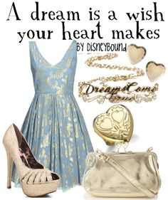 A dream is a wish your heart makes fashion, heart, style, dreams, dresses, outfit, the dress, disneybound, cinderella