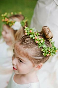 Toddler flower girl hairstyle with wreath
