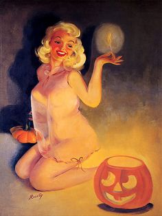 Donald Rust 1950s vintage Halloween pinup girl with jol