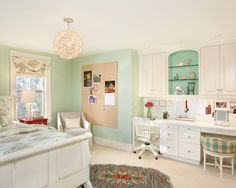 Love this room!  Love the colors, and built in desk/storage!  The lucky girl would also have the other side to do make-up.  Beautiful bedding/window treatments!  LOVE IT