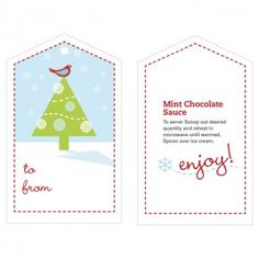 Printable Gift Tags and Recipes from our friends at Country Woman