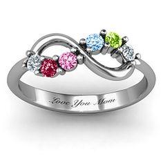 Split Birthstone Infinity Ring - for mother