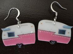 HOW CUTE!!! Pink Polka Dot Trailer Earrings. $14.00, via Etsy.