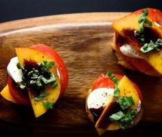 appet, food, crostini recip, eat, peach tomato, peaches, bakers, tomatoes, mozzarella crostini