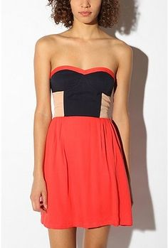 Sparkle & Fade Colorblock Strapless Dress