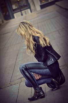 Edgy winter outfit - fitted leather jacket, leather panel leggings and biker boots.