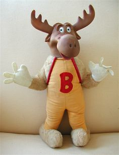 'terrytoons' bullwinkle plush (1961) This is a truly demented looking toy - even for Bullwinkle, it looks (shall we say) 'challenged'. The pigeon-toed feet, limp fingers and vacant expression combine to evoke a Ren & Stimpy-type character. The copyright notice is wrong too, attributing the character to the Terrytoons studio. It doesn't talk or play music, but come on! Isn't it entertaining enough? I got this from the fellow who sold me the Jay Ward figurines, and it cost about $70-75.