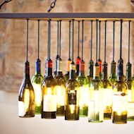 Maybe if I made crafts with my wine and Jamesons bottles the recycle dudes wouldn't look at me so funny.  Wine Bottle Chandelier