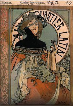Au Quartier Latin by Alphonse Mucha, 1898 alphons mucha, 1898, au quartier, quartier latin, latin quarter, artnouveau, alphonsemucha, art nouveau, alphonse mucha