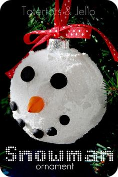 DIY Snowman Christmas Ornaments To Make With Kids : Beautiful DIY Snowman Shaped Christmas Bulb Ornament and Red Polkadot Ribbon Ideas to Ma...