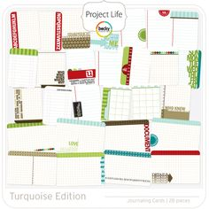 Project Life - Turquoise - Journaling Cards; digital