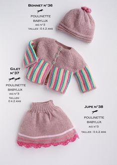 Modèles tricotés dans la laine CHEVAL BLANC. Qualités : BABYLUX et POULINETTE