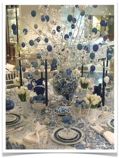 Blue and white Easter table by Eddie Ross...