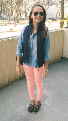 pink jeans + chambray shirt + navy quilted vest + chocolate brown topsiders