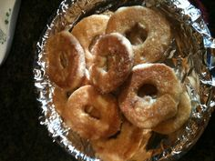 Baked sugar donuts! 1 can pillsbury country style biscuits, 3 Tb melted butter, 1/3 cup sugar (I added some pumpkin spice). Flatten biscuits, cut out 1 inch hole in the middle, dip in butter then in sugar. Bake at 375 for 12-14 min. Delicious! I made this this morning for a random breakfast treat!