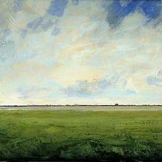 Original Oil Painting 24x24 CUSTOM Modern Abstract Sky Cloud Field LANDSCAPE ART by J Shears via Etsy