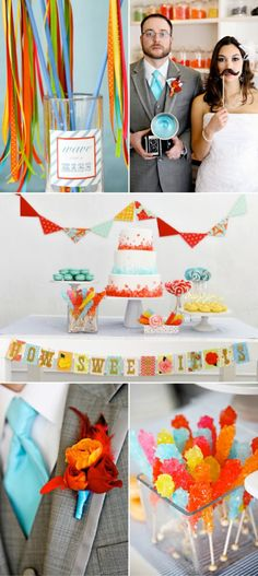this candy shoppe wedding photo shoot makes my heart go pitter patter. #candyland #party #ideas #cake #banner #ribbon #wands
