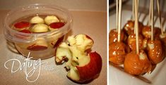 Use a melon baller, scoop out apple bites and soak them in water to keep from browning then put a skewer in each one and dip them in caramel...mini caramel apples! Such a great idea!