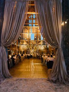 wedding receptions, barn reception, dream, wedding ideas, barn weddings, rustic weddings, barns, rustic lighting, curtain