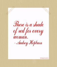 Printable Audrey Hepburn Quote Print Shade of Red for Every Woman 8 x 10 Digital Print Red Ombre