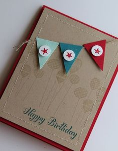 love the banner stamp sets, pattern parti, birthday card, card designs, happy birthdays, birthday banners, birthday boys, color combos, making cards