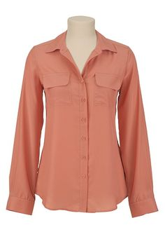 Button Up Pocket Front Blouse available at #Maurices