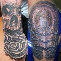 Hand tattoo of money rose and skull. Shoulder armor tattoo