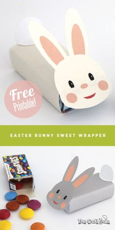 Easter bunny free printable sweet wrapper - perfect for small kids gifts this Easter | The Craft Train