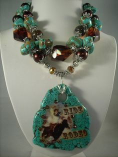 Chunky Turquoise Rodeo Cowgirl Necklace.   This is different and very cute!