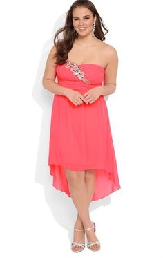 Deb Shops Plus Size High Low #Prom #Dress with Stone Leaf Detail on Bodice $82.90