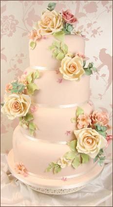 Couture Cakes - Vintage Sugar Rose Wedding Cake