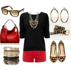 Black Red Leopard Print Outfit