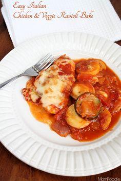Easy Italian Chicken & Veggie Ravioli Bake