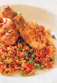 Spanish-Style Chicken with Saffron Rice (Arroz con Pollo) Spanishstyl Chicken, Spanish Rice Stuffed Peppers, Saffron Rice, Rice Arroz, Arroz Con Pollo, Chicken Paprika, Saffron Chicken
