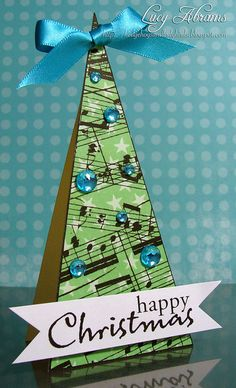 A festively fun tree shaped Christmas card. #Christmas #cards #paper_crafting