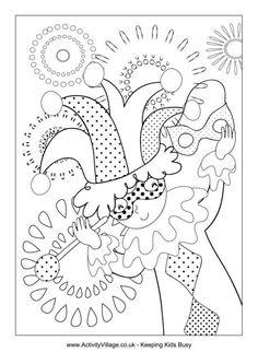 Mardi Gras jester colouring page