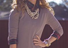 Love this sweaters, statement necklaces, sweater dresses, pearls, collar, pearl necklaces, dress up, southern charm, plaid shirts