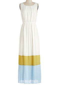 White Yellow Blue Sleeveless Pleated Long Dress