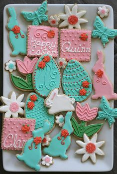 Easter Royal Iced Sugar Cookies in Teal, Pink, and Coral