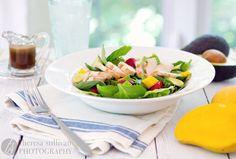 avocado salad, food, strawberries, mango, honey balsam